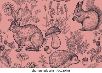Forest animals and plants seamless pattern. Hare, hedgehog, squirrel, berries strawberry, flowers lavender, chamomile and mushrooms. Hand drawing. Black and red. Vintage engraving. Vector illustration