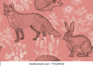 Forest animals and plants seamless pattern. Hare, hedgehog, fox, berries strawberry, flowers lavender and chamomile. Hand drawing. Pink, white and black. Vintage engraving. Vector illustration.
