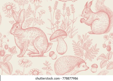 Forest animals and plants seamless pattern. Hare, hedgehog, squirrel, berries strawberry, flowers lavender, chamomile and mushrooms. Hand drawing. White and red. Vintage engraving. Vector illustration
