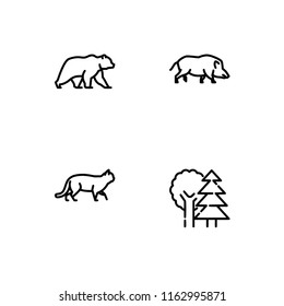 Forest animals and plants. Set outline icon EPS 10 vector format. Professional pixel perfect black, white icons optimized for large and small resolutions. Transparent background.