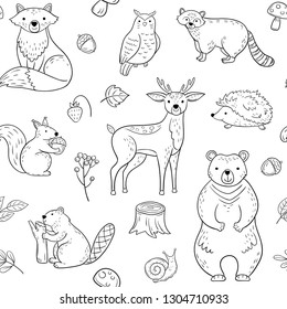 FOREST ANIMALS SEAMLESS PATTERN. Fox Owl Raccoon Beaver Bear Hedgehog Squirrel Fox. Woodland baby animal vector wallpaper