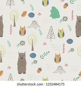 Forest animals. Seamless pattern in scandinavian style. Creative kids texture for fabric, wrapping, textile, wallpaper, apparel. Vector illustration.