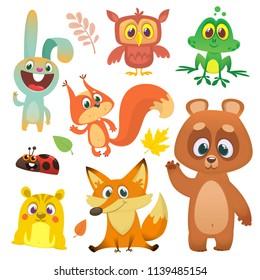 Forest animals set cartoon. Vector illustration. Big set of cartoon woodland animals illustration. Squirrel, owl,  bunny rabbit, frog, chipmunk, fox,  bear, ladybug. Isolated