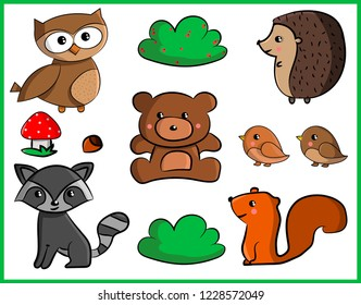 Forest animals set: hedgehog, owl, bear, squirrel, raccoon and birds. Bushes with berries and mushroom.