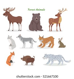 Forest animals set. Moose, boar, lynx, bobcat, bear, deer, wolf, hare, rabbit, fox, wild boar jaguar isolated on white background Wildlife characters Forester cartoon creatures Vector illustration
