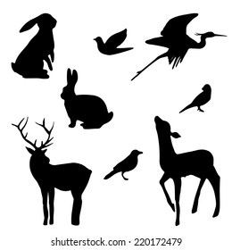 Forest animals silhouette set. Hand drawn isolated vintage illustration