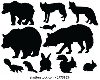 Forest animals silhouettes collection