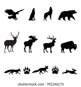 Forest Animals Silhouettes - Vector illustrations of woodland animals: eagle, moose, deer, elk, bison, wolf, fox, hare