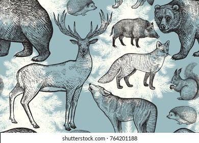 Forest animals and trees seamless pattern. Squirrel, deer, bear, wolf, fox, hedgehog, wild boar and spruce. Hand drawing. Blue, white and black. Vintage engraving background. Vector illustration art.