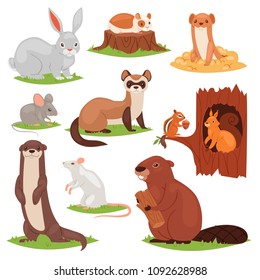 Forest animals vector cartoon animalistic characters squirrel in hollow and wild beaver or bunny hare in woodland illustration set of gnawers mouse or rat isolated on white background