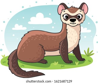 Forest animals vector cartoon animalistic characters ferret in woodland illustration set of gnawers isolated on white background