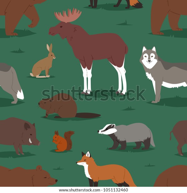 Forest Animals Vector Cartoon Animalistic Characters Stock Vector ...