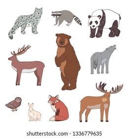 Forest animals vector hand drawn set