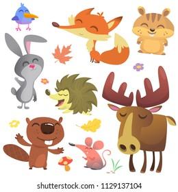 Forest animals vector illustration. Cartoon bird, hedgehog, beaver, bunny rabbit, chipmunk, fox, mouse and moose