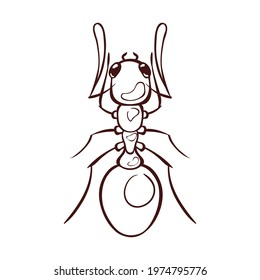 Forest ant, macro of insect. Monochrome brown outline icon. Pest control. Vector illustration in cartoon style, isolated on white