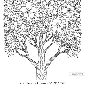 Forest apple flower tree. Vector artwork. Love bohemia concept for invitation, card, ticket, branding, boutique logo, label, emblem. Web mobile interface. Coloring book page for adult. Black, white