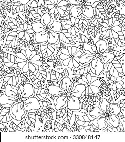 Forest apple tree flowers pattern. Vector artwork. Love bohemia concept for wedding invitation, card, ticket, branding, boutique logo, label. Web mobile interface. Coloring book page for adult