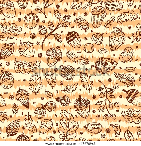 Forest autumn background. Hand drawn doodle Ornamental Acorns and oak leaves vector seamless pattern.