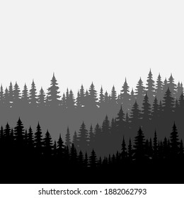 Forest background, nature, landscape. Trees, silhouette of forest