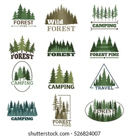 Forest badge vector set.