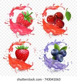 Forest berries juice splash Blueberry, strawberry, raspberry and cherry fruit