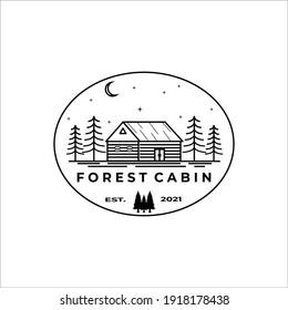 forest cabin logo vector line art illustration