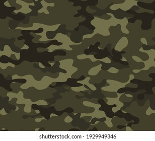 Forest camouflage background, army vector pattern, stylish street print. EPS 10