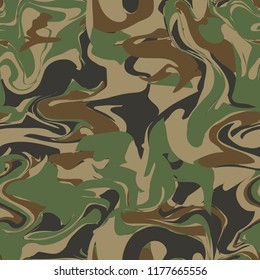 Forest camouflage. Vague abstract spotted seamless pattern. Uneven edges hide the shape and outline of masked object. Green, brown, olive, black coloring. Military woodland style camo for uniforms.
