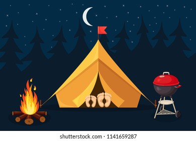 Forest camp with tent, bonfire. Camping site with campfire at night, portable round barbecue with grill meat BBQ picnic, family party. Cookout event. Hiking, summer tourism concept. Vector flat design