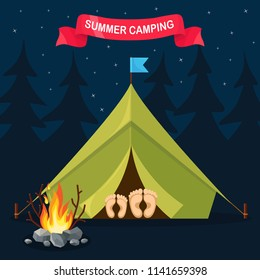 Forest camp with tent, bonfire. Camping site with campfire at night. Hiking, summer tourism concept. Vector flat design