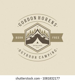 Forest camping logo design vector illustration. Outdoor adventure leisure, Tent and pine trees silhouettes shirt, print stamp. Vintage typography badge template.