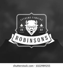 Forest camping logo emblem vector illustration. Outdoor adventure leisure, Bison silhouette print stamp. Vintage typography badge design.