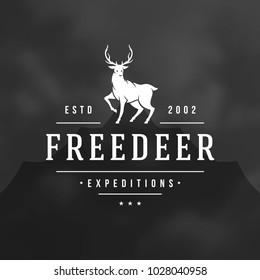 Forest camping logo emblem vector illustration. Outdoor adventure leisure, Deer silhouette shirt, print stamp. Vintage typography badge design.