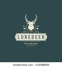 Forest camping logo emblem vector illustration. Outdoor adventure leisure, Deer head silhouette shirt, print stamp. Vintage typography badge design.