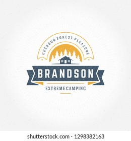 Forest camping logo emblem vector illustration. Outdoor adventure leisure, Camp tent silhouette shirt, print stamp. Vintage typography badge design.