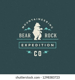 Forest camping logo emblem vector illustration. Outdoor adventure leisure, Bear silhouette shirt, print stamp. Vintage typography badge design.