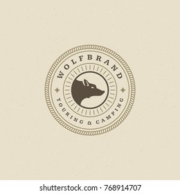 Forest camping logo emblem vector illustration. Outdoor adventure leisure, Wolf head silhouette shirt, print stamp. Vintage typography badge design.