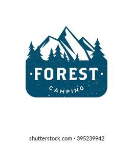 Forest camping. Retro logo