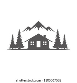 Forest camping shape isolated on white background vector illustration. Camp cabin vector graphic silhouette.