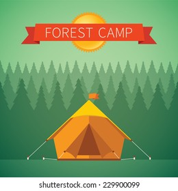 Forest camping vector concept with tourist tent