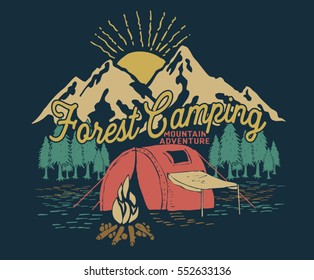 Forest camping.Adventure .VECTOR PRINT.