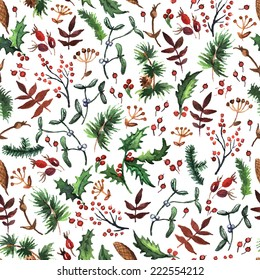 Forest Christmas pattern. Hand painting. Watercolor.  Seamless pattern for fabric, paper and other printing and web projects.