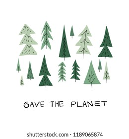 Forest Christmas tree nature simple postcard. Save the planet Ecology graphic design typography element. Hand drawn Cute vector style. Textile print Nature Winter Healthy Green Environment collage