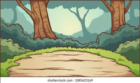 Forest clearing background. Vector clip art illustration with simple gradients. Some elements on separate layers.