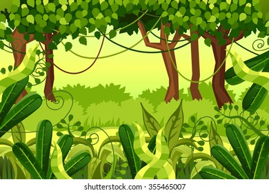 forest. colorful jungle. vector illustration