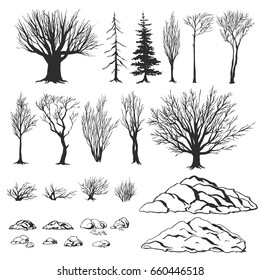 Forest constructor, ink hand drawn vector illustration