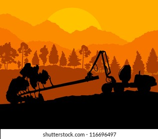 Forest cut down landscape with wood and heavy equipment track