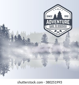 Forest design template with fog. reflection in water. Smoke on forest lake. Logo of adventure club. Outdoor adventure travel agencies tourism graphic symbols emblems labels. Vector illustration