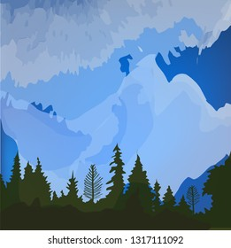 Forest environmental landscape background for the card or tourism banner. Vector graphic illustration