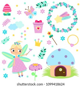 Forest Fairy set. Collection of cartoon fairy tale design elements. Stickers, clip art for girls for scrapbook, party, mobile applications, blogs
